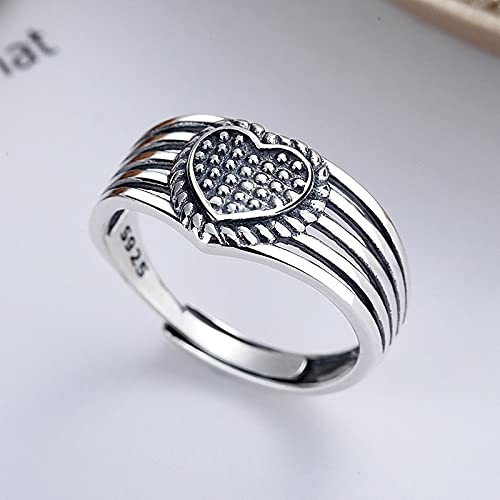 awaFanee S925 Sterling Silver Open Rings Love Heart With Multi-layer Hollow Wind Finger Joint Toe Ring Party Wedding Cute Jewelry Gifts Women Girls Band Adjustable Size 5-10 Under
