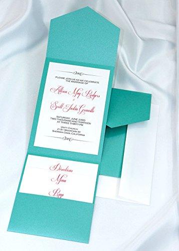 All-in-One Pocket Invitation Kit - Tiffany Lagoon Elegance - Pack of 20