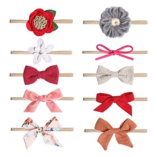 De feuilles Baby Haarband 10 Stück Stirnband Elastisch Band Schleife Blumen Mädchen Haarschmuck