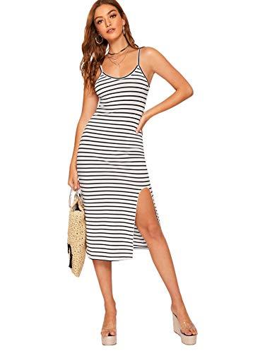 Romwe Women's Striped Spaghetti Strap Split Hem Cami Midi Bodycon Dress White M