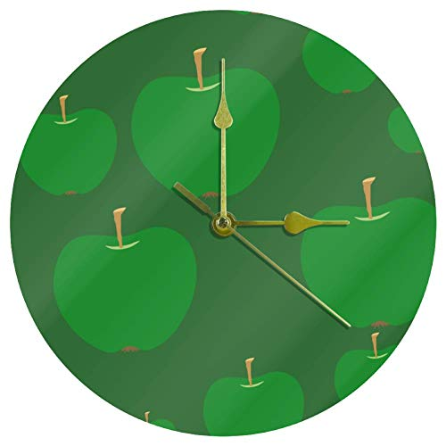DIYSELLER Dimension Three-Dimensional Digital Mute Mechanism European Originality Fashion Classic Rome Will Wall Clock Green Apples