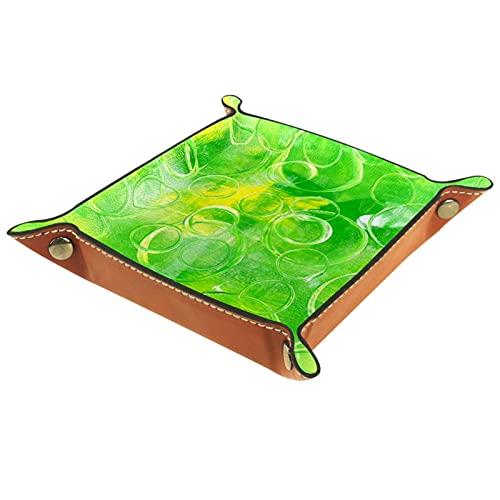 rogueDIV Bandeja plegable de piel sintética para dados, soporte de dados para juegos D&D, RPG, juegos de mesa o escritorio para guardar llaves de teléfono, textura verde 6.2 x 6.2 pulgadas
