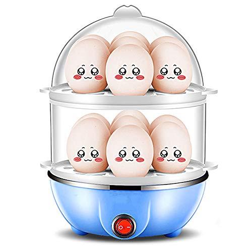 14 huevos multifunción, doble cocedor de huevos, silenciador de acero inoxidable, se apaga automáticamente, protección contra sobrecalentamiento, pequeña máquina de desayuno para casa