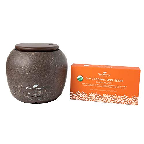 Plant Therapy TerraFuse Deluxe Brown Diffuser and Top 6 Organic Essential Oil Set 100% Pure, Undiluted, Therapeutic Grade Essential Oils