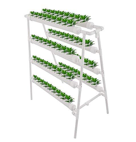 Blanco Kit de Cultivo hidropónico, 8 Tubos de 4 Capas Equipo de siembra hidropónico tubería PVC Sistema jardín balcón Cultivo Vertical de Agua