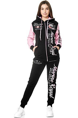 Damen Jogginganzug Frauen Trainingsanzug Sportanzug Streetwear JG-512 (Rosa, M)