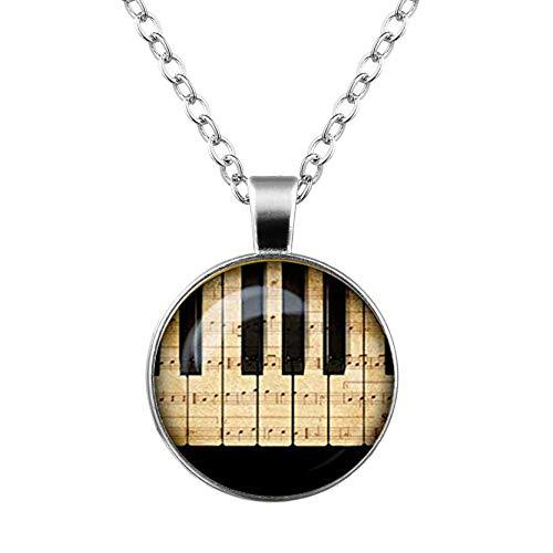 Klavierglas-Anhänger, Musik-Halskette, Musikinstrumente, Schmuck, Geburtstagsgeschenk, ein schönes Geschenk.