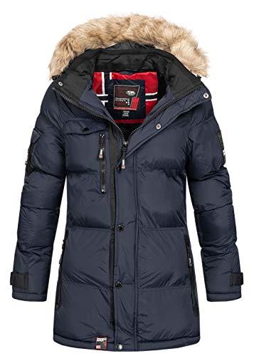 Geographical Norway - Giacca invernale da donna, trapuntata, per esterni, traspirante, antivento, impermeabile, cappuccio rimovibile blu navy L