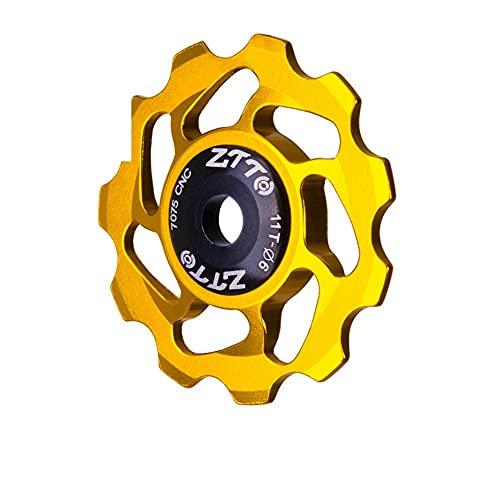 LFONCE Rueda de desviador, polea de desviador de bicicleta, rodamiento sellado de aluminio, rueda de guía de bicicleta, poleas de desviador trasero, para bicicleta de montaña (dorado)