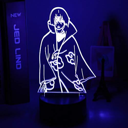 Lámpara de Anime Naruto Uzumaki Kids Led 3d Night Light Team 7 Kakashi Hatake Lámpara de noche para niños Sasuke Uchiha Children's Night Light