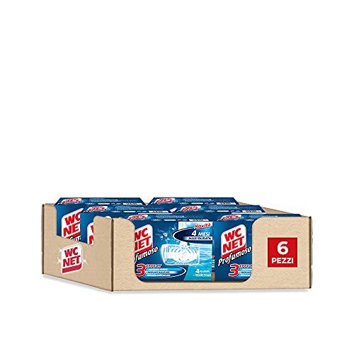 Wc Net - Tableta perfumada de 3 efectos, detergente higienizante sólido para inodoro, fragancia Ocean Fresh, 4 unidades x 6 paquetes