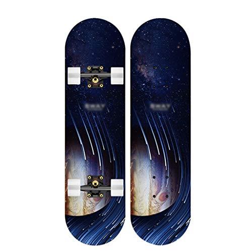 Skateboarden 7A Maple Allrad-Anti-Rutsch-Doppel-Alice Last 150 Kg Allgemeines Longboard Für Erwachsene, Jugendliche Und Kinder Druck- Und Rissfest (Color : D, Size : 79 * 20.5cm)