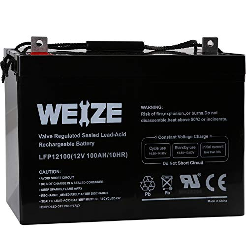 Weize 12V 100AH Deep Cycle AGM SLA VRLA Battery for Solar System RV Camping Trolling...