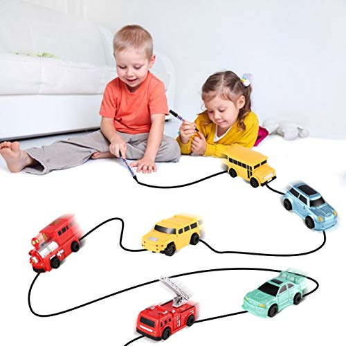 Dailyinshop Enlighten Magic Pen Inductive Car Tanque de Tren para niños Cochecito para niños Draw Lines Induction Rail Car Kids