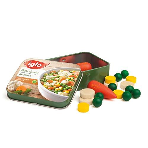 Erzi 18441 Gemüse von Iglo aus Holz in der Dose, Kaufladenartikel für Kinder, Rollenspiele