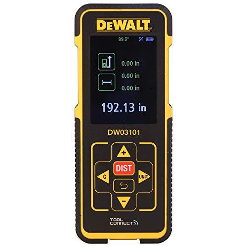 DeWalt Laser-Distanzmesser (635 nm, Laserklasse 2, für Längen-, Flächen- und Volumenmessung, in Metern und Inch, inkl. 2x LR03 (AAA) Batterien und Schutzetui) DW03101