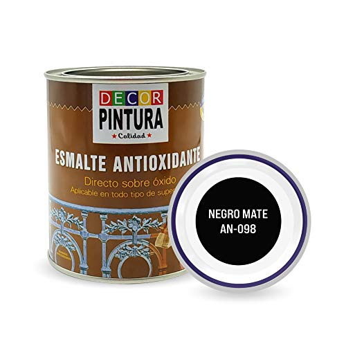 Pintura Negro Mate Antioxidante Exterior para Metal minio Pinturas Esmalte Antioxido para galvanizado, hierro, forja, barandilla, chapa para interiores y exteriores - Lata 750ml