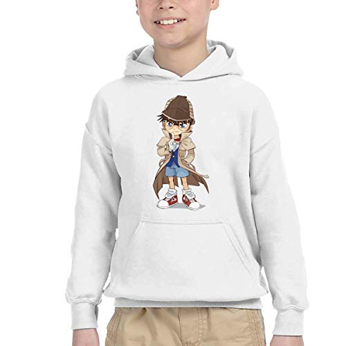 Girlâ€s Conan Detective Stylish Kangaroo Pocket Hoodies with Hat for Daily-3T