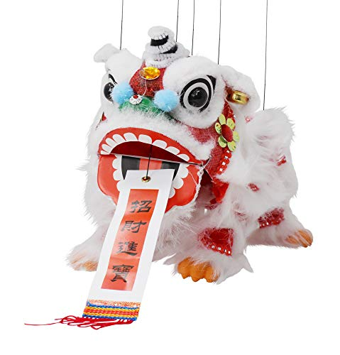 Mandala Crafts Hand String Puppet with Rod, Chinese Marionette Lion Toy, Red on White