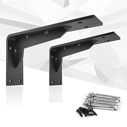 Black Shelf Brackets - Heavy Duty Corner Brace Support Wall Brackets, Rustic Black Iron Finish - 2 Pack L Brace Joint Angle Brackets For Wood Shelves,Includes Hardware