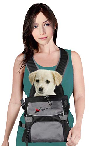 Front Dog Cat Pet Carrier, Dog Backpack Bag by Eugene's. Free Your Hands. Use as: Dog Carrier, Cat...