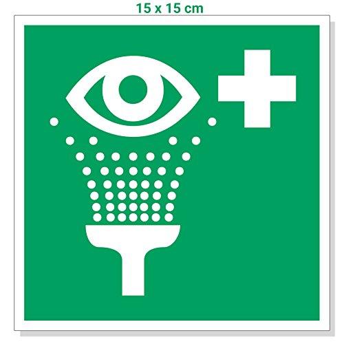 Aufkleber Augenspüleinrichtung 15x15cm, Zeichen Augendusche/Augenspülung/Notdusche, Rettungszeichen, Erste Hilfe Schild