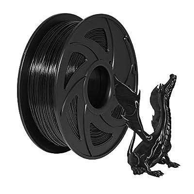 Xvico PLA 3D Printer Filament 1.75mm Filaments 3D Printing 1kg 2.2lbs for FDM 3D Printer, Black