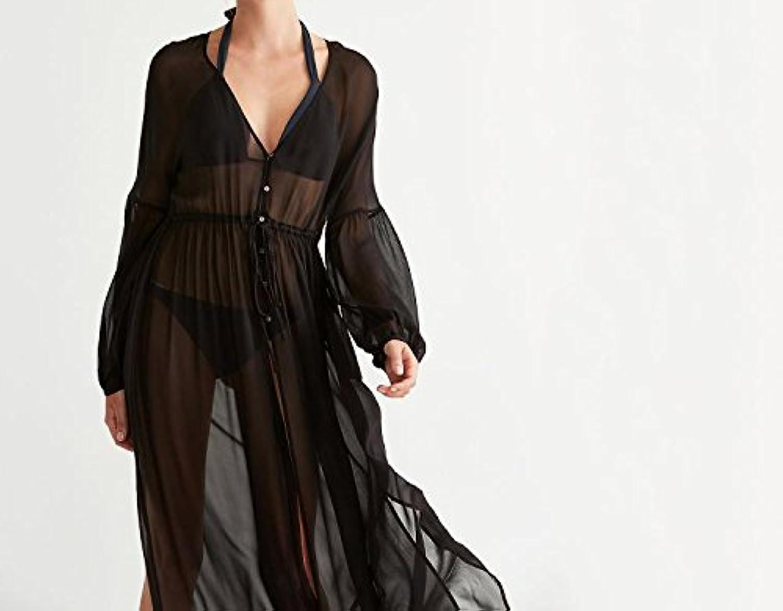 Lace Beach Dress,Long Bikini Swimwear Beach Cover up Thin uv Sun PredectionBlack