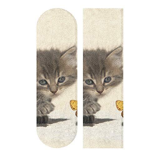 LMFshop 33,1x9,1 Zoll Sport Outdoor Skateboards Schleifpapier Nette Kawaii Katze Mit Schmetterlingsdruck wasserdichte Skateboards Griffband Für Tanzbrett Doppel Rocker Board Deck 1 Blatt