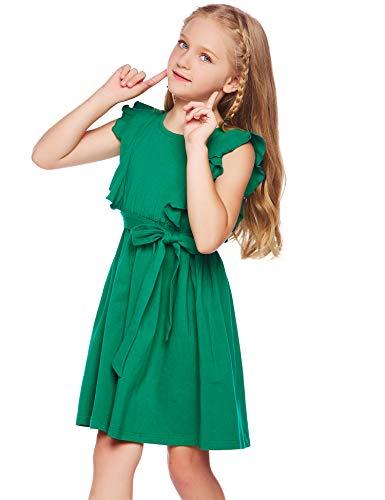 trudge Kleid Mädchen Rüschenarm Sommer A-Linie Baumwolle Prinzessin T-Shirt Kleider ärmellos Fattern Skaterkleid Rundhals Freizeitkleidung mit Gürtel Grün 130
