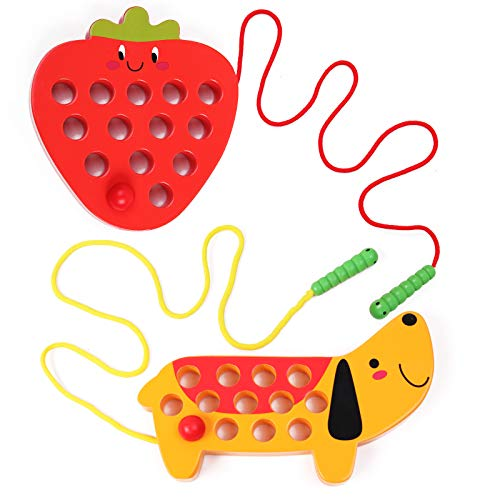 GEMEM Wooden Lacing Threading Toys Fine Motor Skill Toys for 3 Year Old Educational and Learning Montessori Toddler Travel Toy 1 Strawberry and 1 Dog