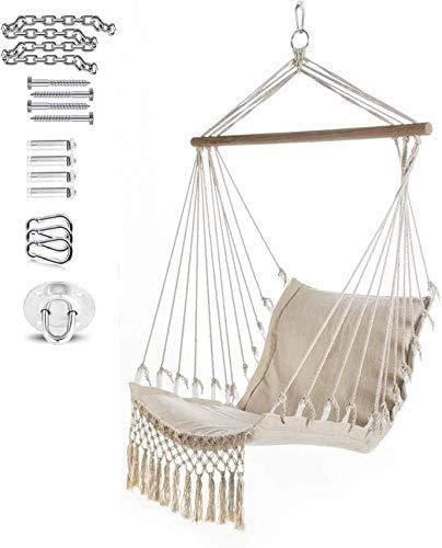 WERTYG Beige Hanging Hammock Chair, Garden Swing Chair, Superior Comfort & Durability Perfect for Indoor/Outdoor 100 55cm