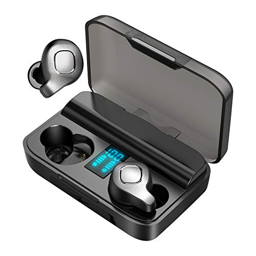 JUJ F8 Wireless Bluetooth Earbuds, Active Noise Cancelling Earphones with True Wireless,ANC in-Ear Earphones with Digital Charging Case for Running/Driving/Companion Etc. (Black)