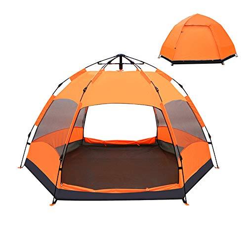 ZFH Tienda de campaña Tiendas de cúpula Tiendas de cúpula a Prueba de Agua Mochila instantánea Mochilero automático Toldo Solar Seis ángulos Diseño Deportes al Aire Libre Playa Viajes Esencial,Orange