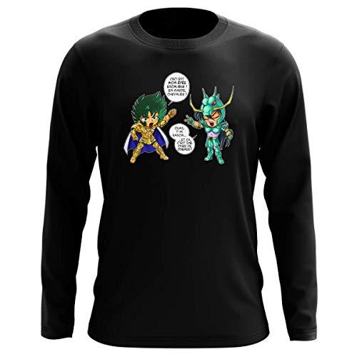 Okiwoki T-Shirt Manches Longues Noir Parodie Saint Seiya - Shura Chevalier d'or du Capricorne et Shiryu du Dragon - J't'AI cassé là ! (T-Shirt de qualité Premium de Taille L - imprimé en France)