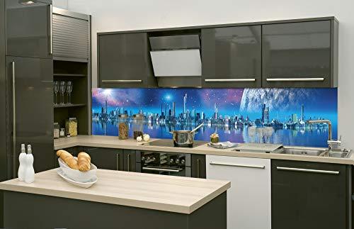DIMEX LINE Küchenrückwand Folie selbstklebend FUTURISTISCHE Stadt | Klebefolie - Dekofolie - Spritzschutz für Küche | Premium QUALITÄT - Made in EU | 260 cm x 60 cm