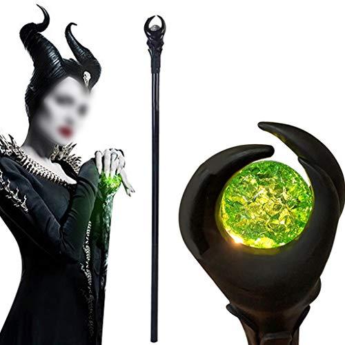 AOIXBCUROC Maleficent Staff Stregone Magico, Luce LED di Halloween Bacchetta Magica Scettro Staff Strega Malefica Cosplay Stick