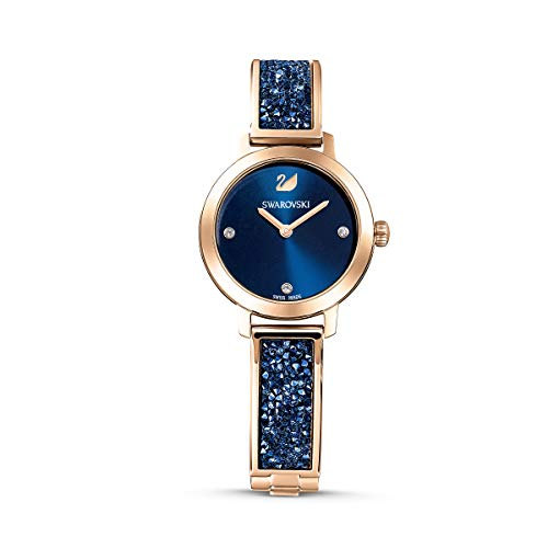 Swarovski Reloj Cosmic Rock, Brazalete de metal, azul, PVD en tono Oro Rosa