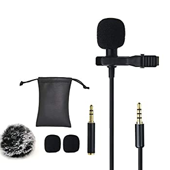 Ruittos Lavalier Clip Microphone Mini Omnidirectional Condenser Interview Microphone Compatible with iPhone XR XS 8 7/Samsung/HTC/Video Recording/DSLR Camera/Conference/Voice Dictation 5 Ft C