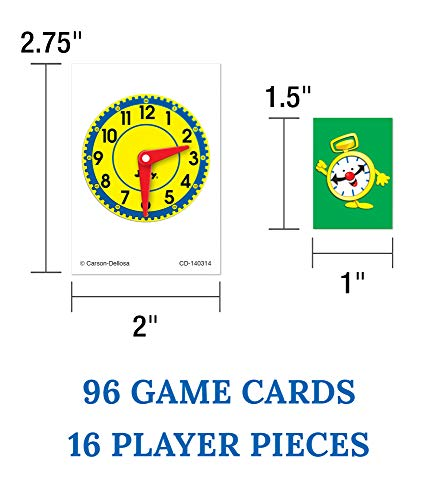 41y6IeYSxGL - Carson Dellosa What Time Is It? Judy Clock Board Game Set—On The Farm, Time With Friends, Swim, Safari Time-Telling Board Games With Game Cards and Player Pieces, 2-4 Players, Ages 5+