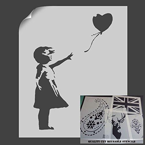 """Schablone mit dem """"Ballon-Mädchen""""-Motiv von Banksy, Schablone zur Wanddekoration, plastik, S/A4- (w)6.7 x (h)9.8 inches"""