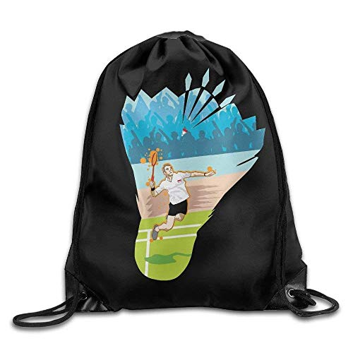 NA Drawstring Bags Gym Bag Travel Backpack, Badminton Funny Print, Womens Backpack for Women Men Adults