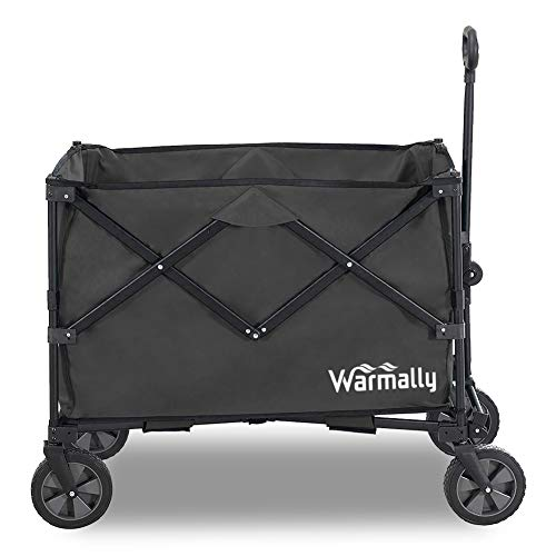 Warmally Collapsible Folding Utility Wagon Beach Cart with Big Wheels for Beach Outdoor Camping Sports Garden Sand with All-Terrain Heavy Duty Foldable Push and Pull Wagon, Black
