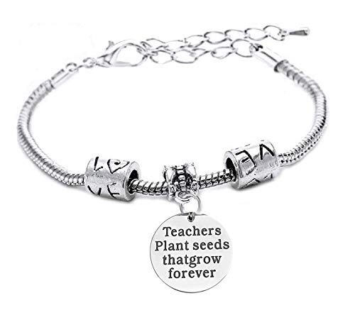 Armband - leraren planten zaden die groeien - armband - motiverend - hanger - leraren planten zaden die voor altijd groeien - unisex partijen - zilver teachers plant seeds that grow forever