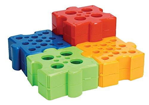 Moonlab-4-0021 Puzzle-Rack, PP, autoklavierbar 4, Blau/Grün/Gelb/Orange