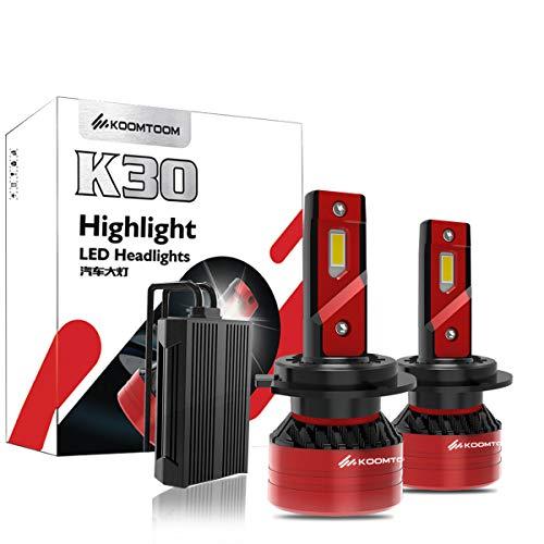 KOOMTOOM H7 Faros LED Can-bus Sin errores Kit de conversión de bombillas exteriores automáticas de alta potencia Reemplazar faros halógenos HID - 90w 16000LM 6500K-1RY Garantía