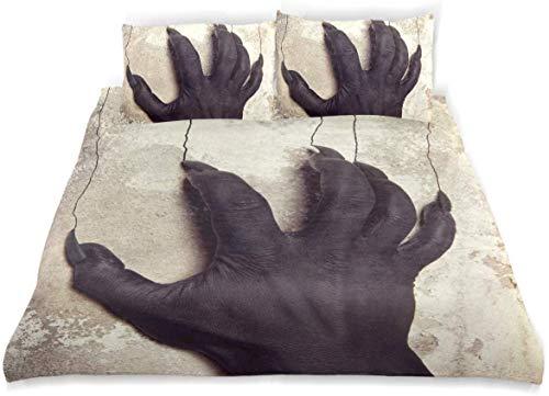 Dodunstyle Juego de Fundas nórdicas Manos Negras del Diablo en el Fondo de la Pared Juego de Cama Decorativo de 3 Piezas King Size con 2 Fundas de Almohada Cuidado fácil Antialérgico Suave Suave