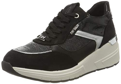 TOM TAILOR Damen 9091504 Sneaker, Black, 40 EU