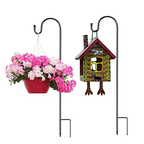 DKINY 2pcs 100cm gancio del pastore del giardino metallo asta del giardino spina con gancio alla ruggine capannone supporto per appendere capanno vaso alimentatore dell'uccello Lanterna illuminazione