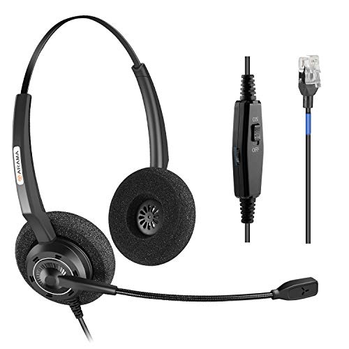 Arama Corded Headset Binaural with Noise-Canceling Mic and Volume Mute Control Phones Headset for Polycom MiVoice Plantronics Allworx AltiGen Digium AVAYA Aastra Adtran Alcatel Lucent-200DM